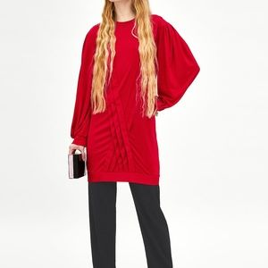 Zara Red Pleated Dress with Long Sleeves